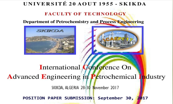 International Conference on advanced engineering in petrochemical industry  ICAEPI'2017, Skikda (28-30) Novembre 2017