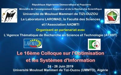 Colloque sur l'Optimisation et les Systèmes d'Information  COSI'2019, 24 au 26 Juin 2019, Tizi Ouzou (Algérie)