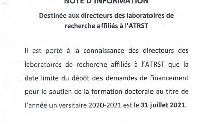 NOTE D'INFORMATION DESTINÉE AUX DIRECTEURS DES LABORATOIRES DE RECHERCHE AFFILIES A L'ATRST